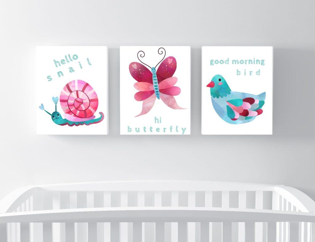 plakaty dla dzieci do pobrania - kolorystyka różowa