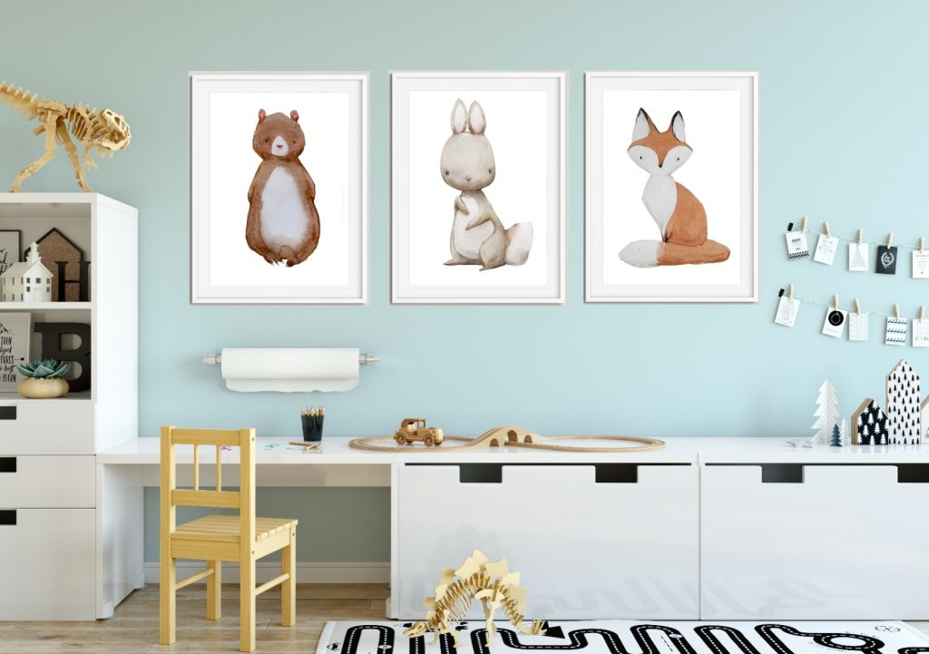 plakaty akwarelowe zwierzaki