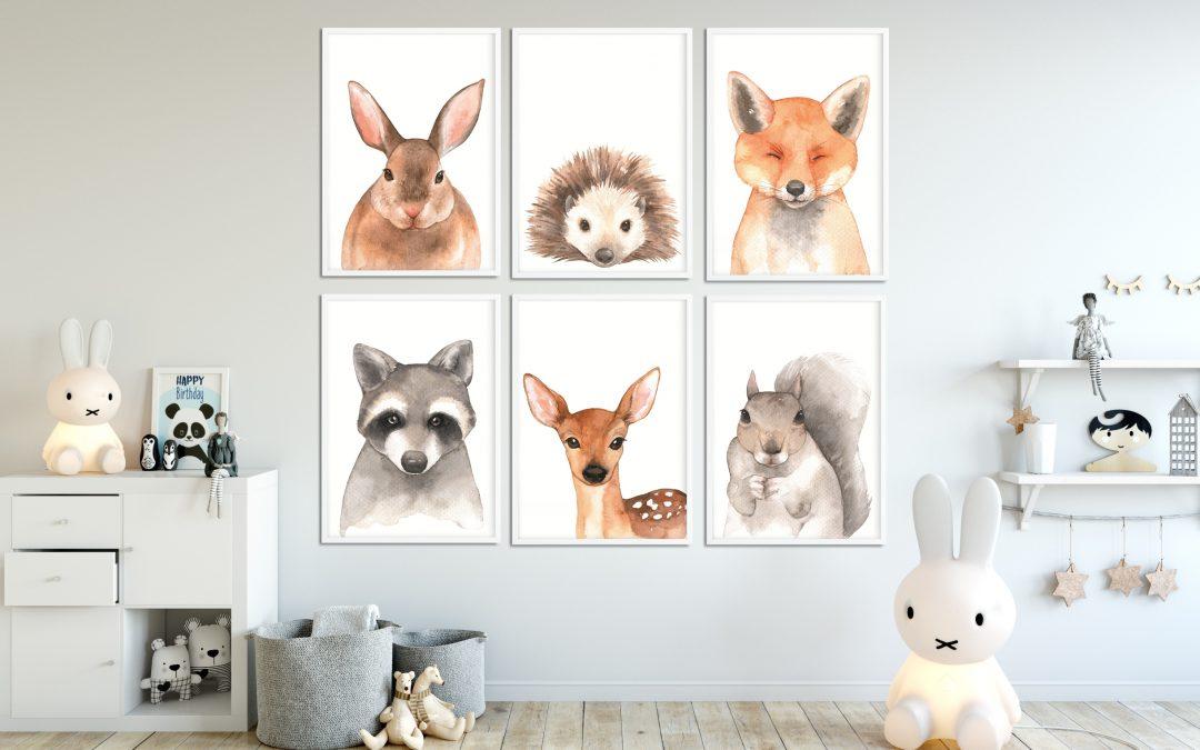 Plakaty z leśnymi zwierzętami do pokoju dziecka