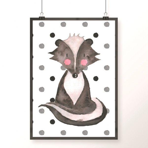 plakat z borsukiem na czarno-białym tle