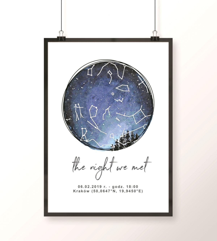 plakat z mapą nieba