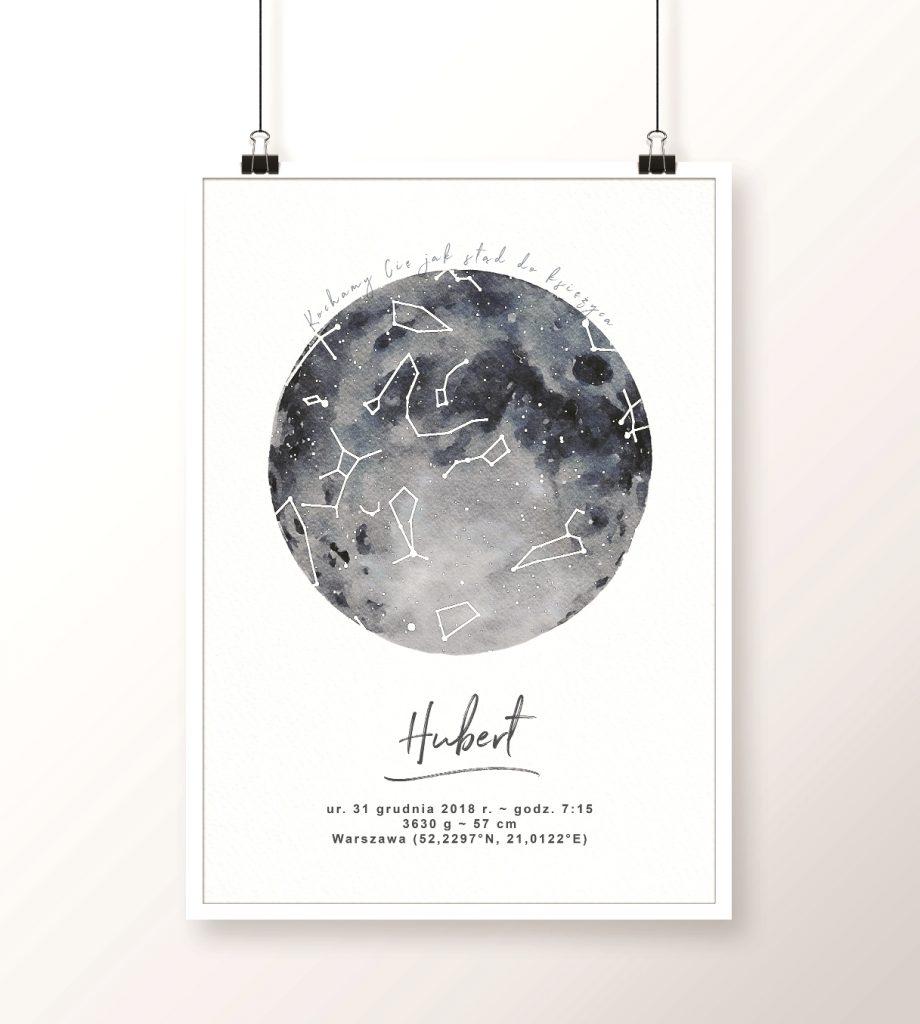 mapa nieba z księżycem