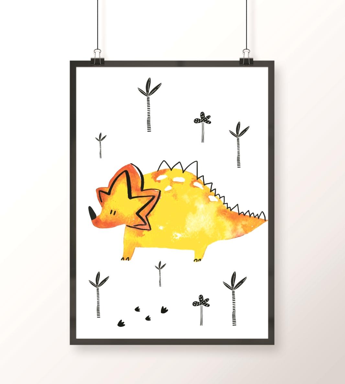 obrazek żółty dinozaur