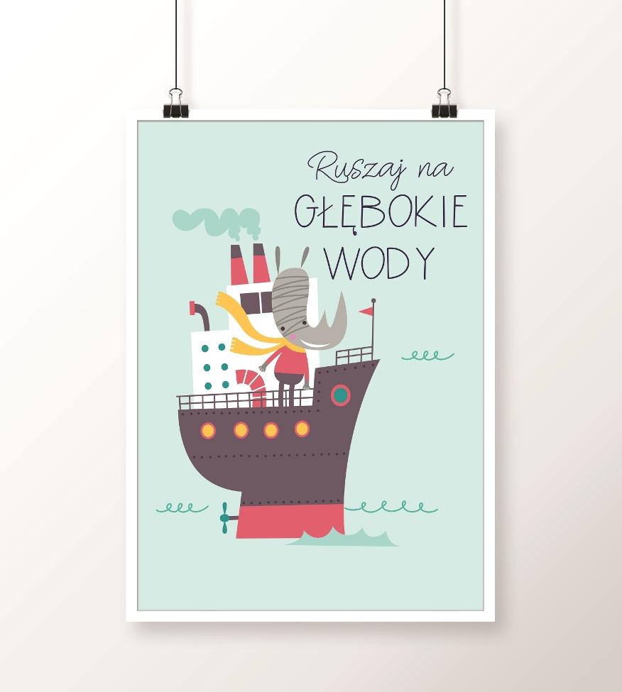 plakat ze statkiem