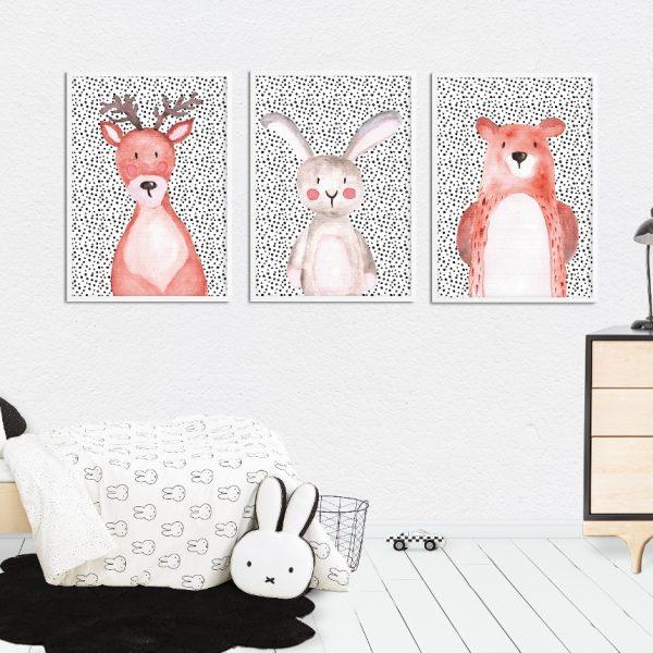 plakaty leśne zwierzaki i kropki