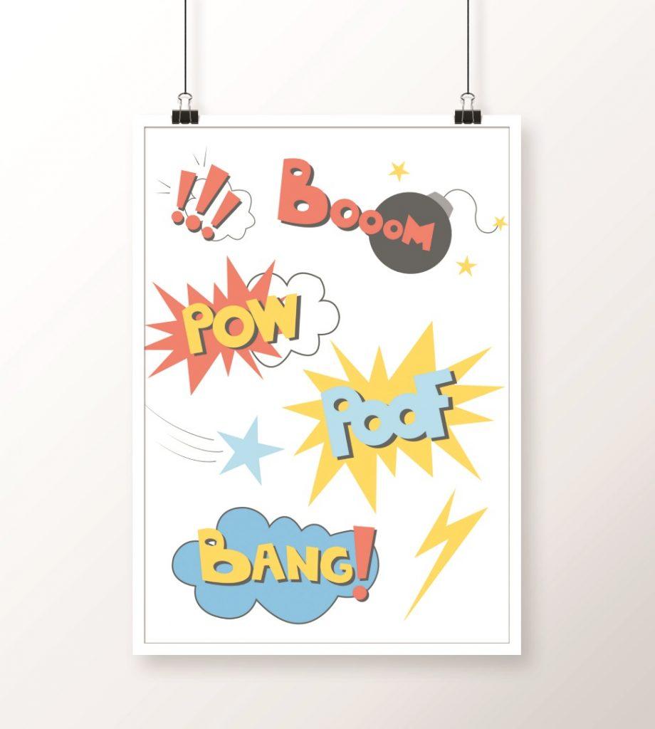 plakat komiksowe napisy