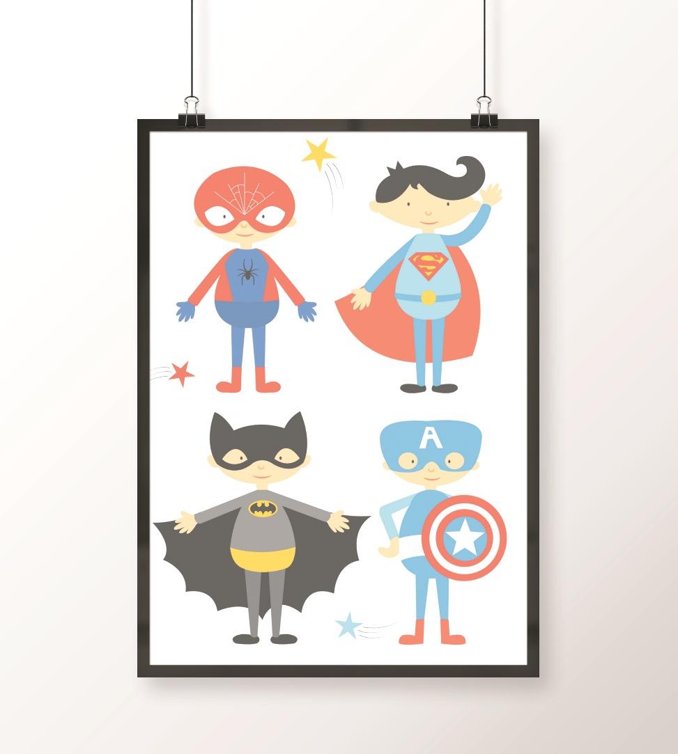 plakat z superbohaterami
