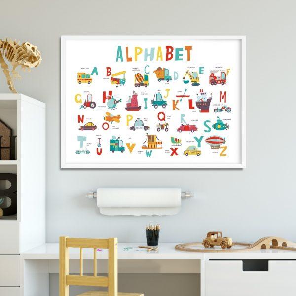 plakat z literami do pokoju chłopca