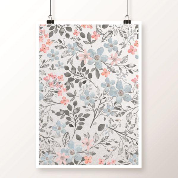 retro kwiaty plakat