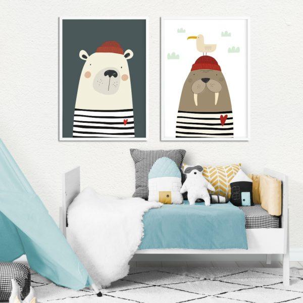 zestaw plakatów marynarze