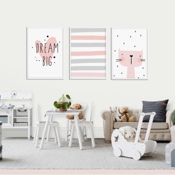 szaro-różowe dekoracje