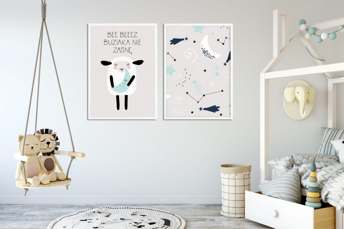 szaro-miętowe plakaty do pokoju dziecka z owcą i gwiazdami