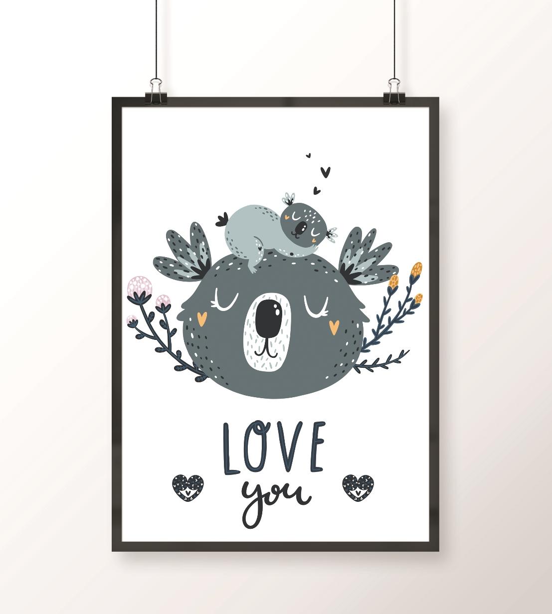 plakat dla dziecka z misiami